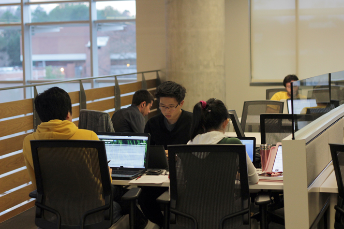 Students study in Clough Commons