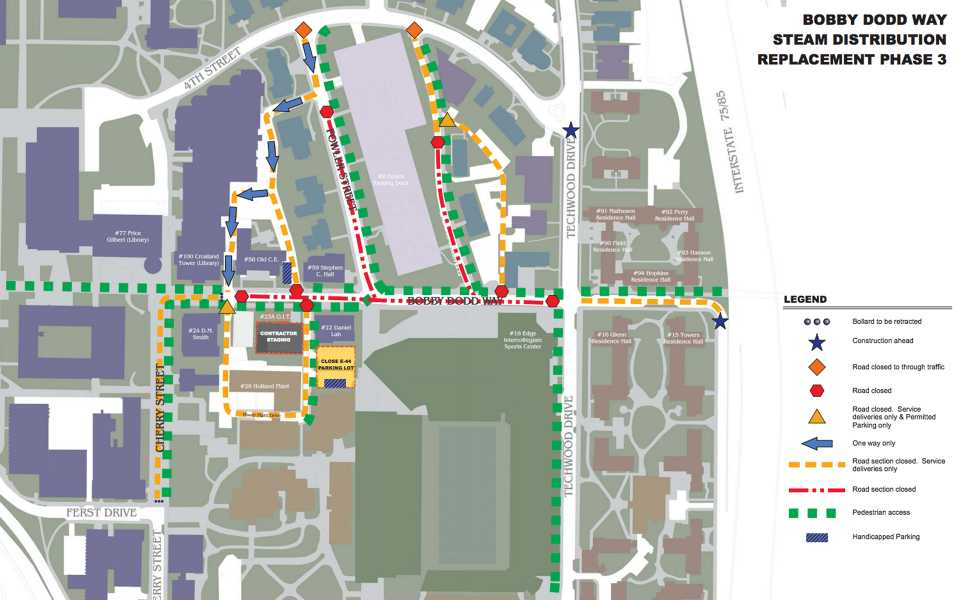Map of the streets and areas that will be closed around Bobby Dodd.