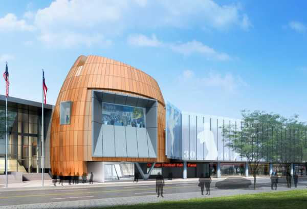 Photo courtesy of Jackson Spalding An artists rendering of what the outside of the College Football Hall of Fame (CFHOF) will look like in Atlanta on Marietta St. when completed. The ground breaking is set for Jan. 28 and construction is expected to be completed in fall 2014.