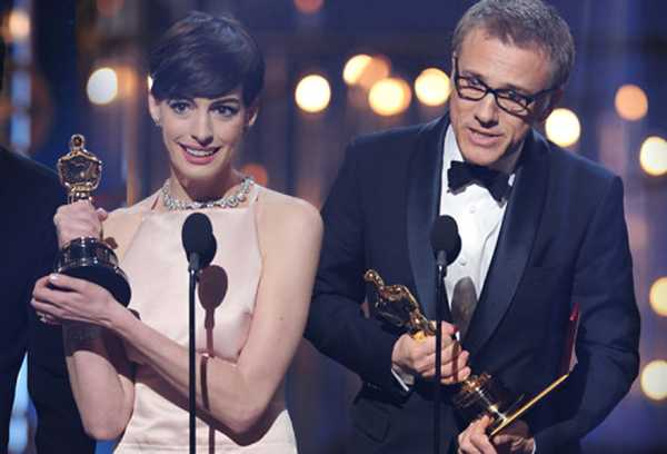 Quentin Tarantino, Anne Hathaway, and Chritoph Waltz deliver their acceptance speeches at the 85th Academy Awards after being nominated by their peers; they were voted on by all members of the Academy of Motion Picture Arts and Sciences (AMPAS). / Photo Courtesy of American Broadcasting Company