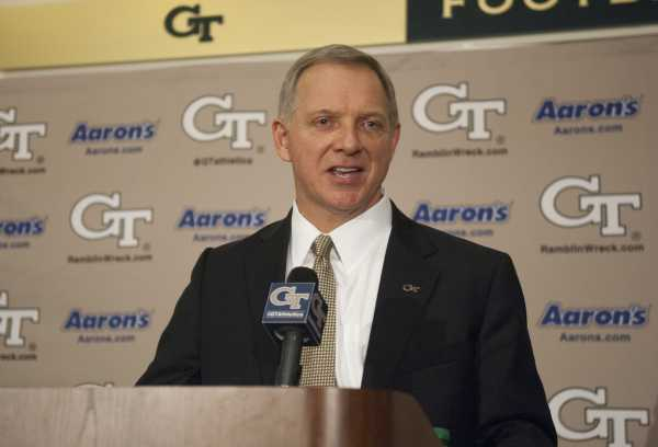 """Photo courtesy of Georgia Tech / President G.P. """"Bud"""" Peterson has named Xavier University's Mike Bobinski as the Institute's new director of athletics. Bobinski was introduced at a press conference in the Edge Building on campus."""