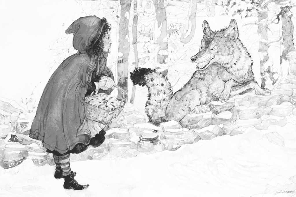Illustration from Little Red Riding Hood, Jerry Pinkney, 2007. ©2007 Jerry Pinkney Studio. All rights reserved.