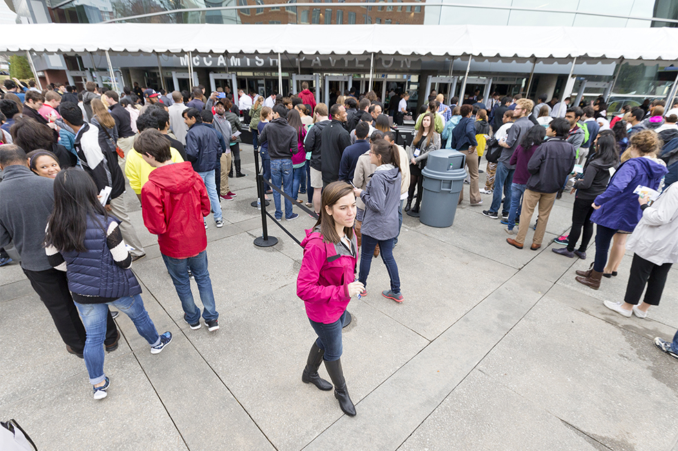Attendees go through security screening prior to entering McCamish Pavilion. Backpacks, food, and large purses were not permitted. // Photo by John Nakano