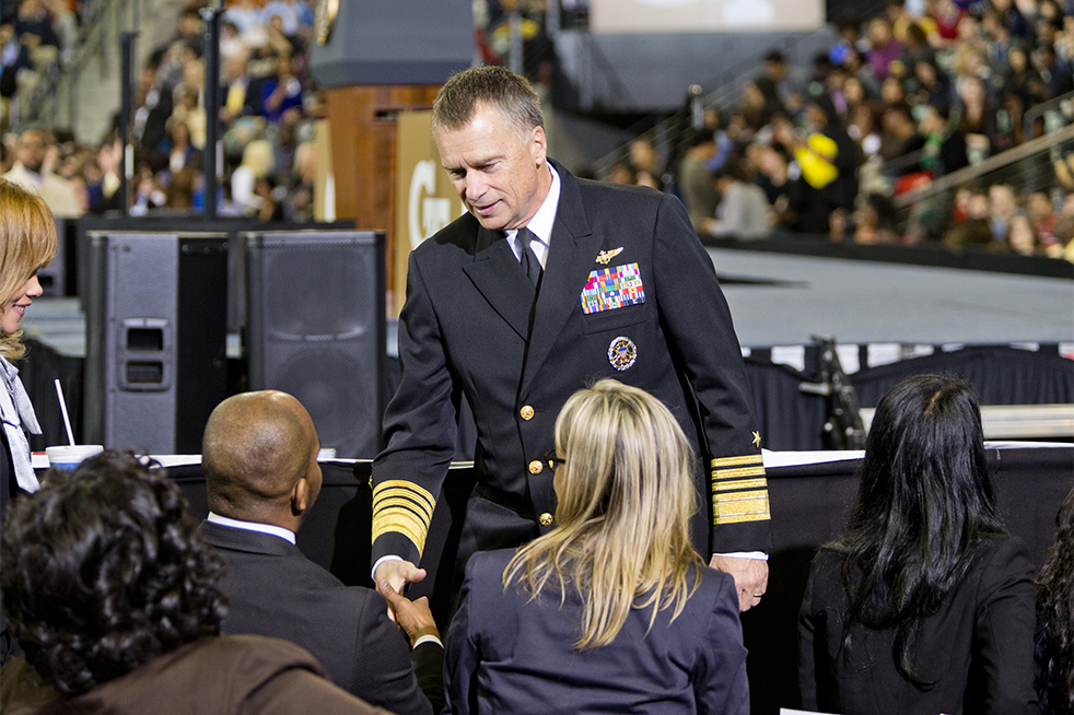 Vice Chairman of the Joint Chiefs of Staff James A. Winnefeld, Jr. shakes hands. Winnefeld graduated from Tech in 1978 with high honors in Aerospace Engineering. // Photo by John Nakano