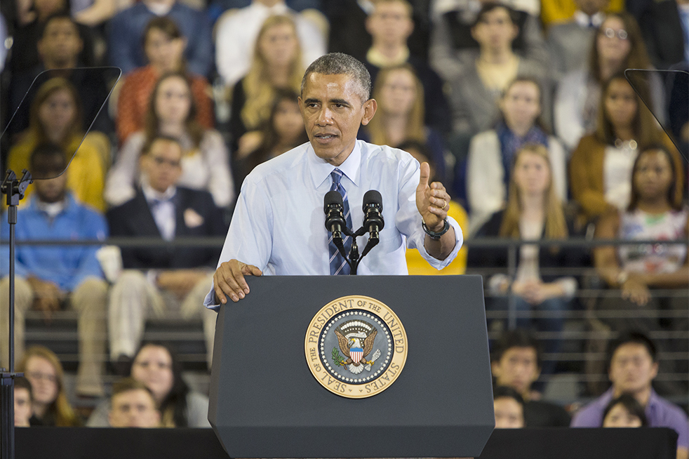 President Obama address the crowd during his speech. The president outlined new actions that the Department of Education will take to help those repaying student loans. // Photo by John Nakano