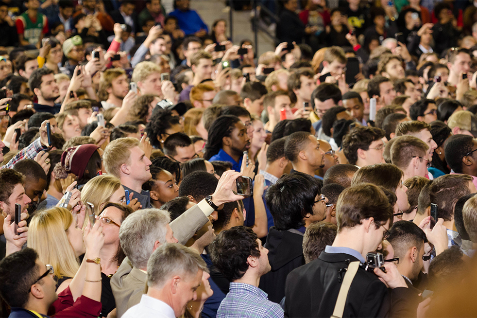 The crowd of mostly Georgia Tech students listen intently as President Obama speaks.  // Photo by Brenda Lin