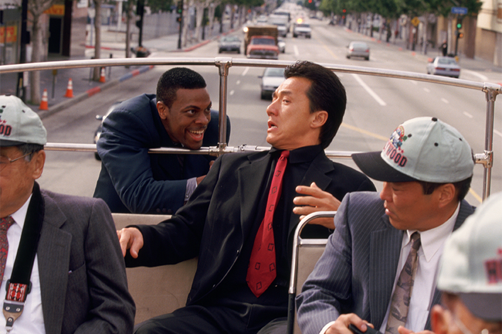 Jackie chan and chris tucker dancing down the street in new york, rush hour